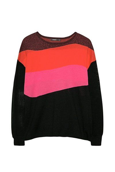 Trui Pullover Desigual. Herfst&Wintercollectie 2017 sweater 1980s look stripes black red pink and dark red
