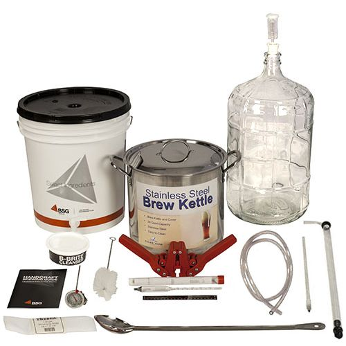 Gold Complete Beer Equipment Kit. This homebrewing equipment kit includes a heavy duty 24 gauge stainless steel brew pot that has a 20 quart capacity that's perfect for 5 gallon batches. Also included is a reusable fine mesh straining bag to hold grain for the mash as well as a 24-inch stainless steel spoon that can whirlpool big batches and even support the weight of a grain bag when sparging.