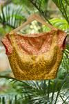 Yellow and orange brocade boat neck blouse with bib detail