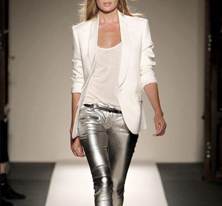 silver pants 2012-13?!: Autumn Fashion, A Mini-Saia Jeans, Silver Pants, White Blazers, Style, Clothing, Balmain Spring, Rocks Stars, Rockstar