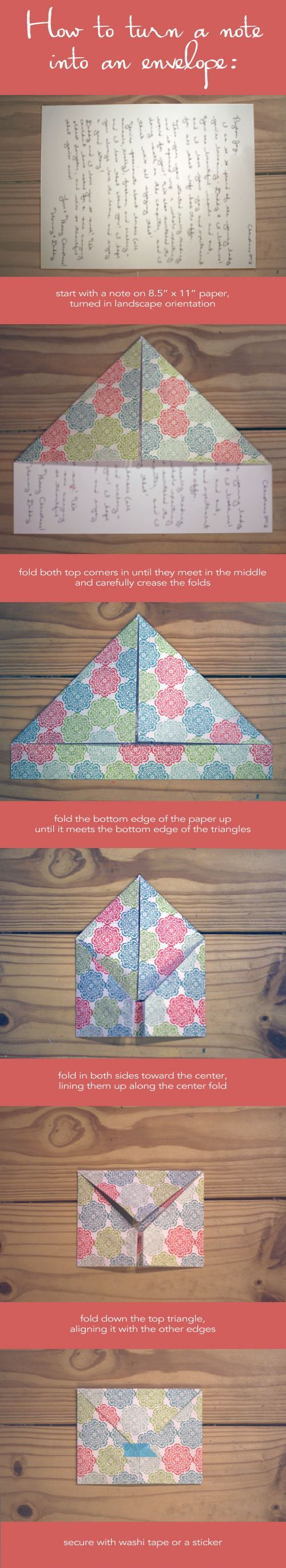 Turn a note into an envelope