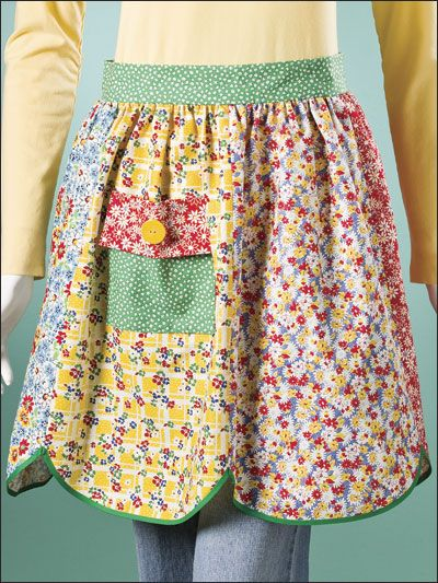 "Vintage-Look Apron      Technique - Sewing    Create a retro-chic fashion accessory by stitching this fat-quarter apron in no time. Made of reproduction prints from the '30s, it makes a great gift for a cook of any age. This e-pattern was originally published in Sew Special Fat Quarter Gifts.     Size: 20"" at front band x 20"" long."