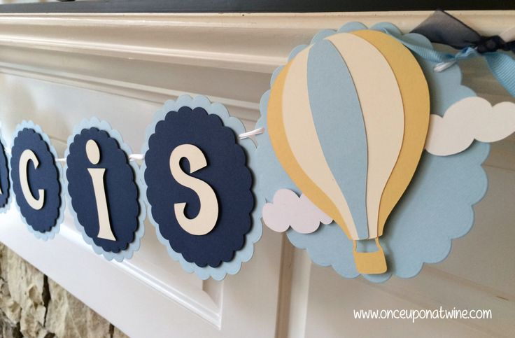 Hot Air Balloon Banner BABY SHOWER Banner or BIRTHDAY Banner Up Up and Away Navy Blue and Baby Blue and Yellow Party Decor Name Banner by OnceUponATwineDesign on Etsy