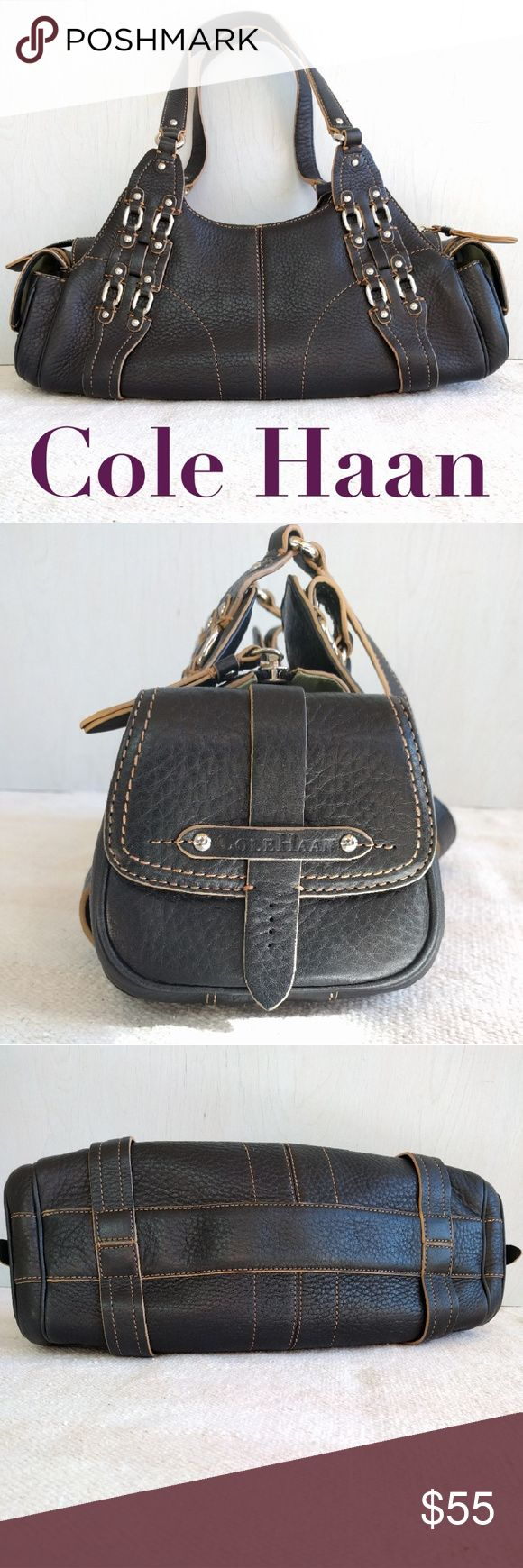 "NWOT Cole Haan leather shoulder bag This rich full grain genuine leather purse by Cole Haan is in perfect condition. Super clean inside and out . Non smoking.   Measures 15"" long and 6"" deep with a strap drop of 9.5"" Beautiful details and silver accents. Good sized interior with a zip closure and two end pockets with magnetic closures. Cole Haan Bags Shoulder Bags"