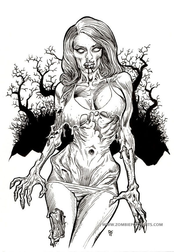 Today is a great sexy zombie image that had a fantastic color assist from fellow horror artist Antoinette Rydyr. Description from zombieportraits.com. I searched for this on bing.com/images