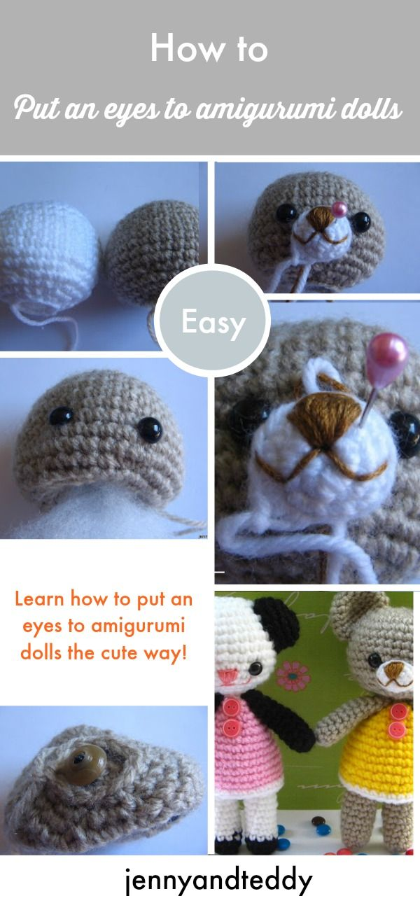 Learn how to put an eyes to amigurumi dolls the cute and easy way.