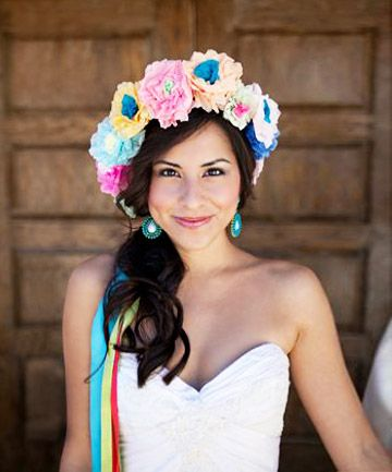 "The Life of the Fiesta //Nothing says ""I'm here to party"" like this vibrant, paper-crown bouquet of flowers. Set the mood by changing into a light-hearted DIY bridal headpiece like this one for your wedding reception or after party."