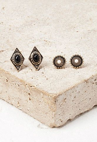 Faux Stone Stud Set | Forever 21 - 1000157975