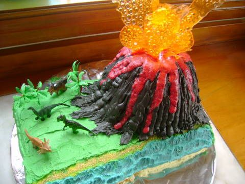 Greatfun4kids: Dinosaur Adventure Sleepover with Volcano Cake!  Includes instructions for melting candy to make volcano fire