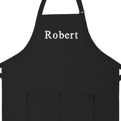 """Personalized Apron, Add a Name Embroidered Design, Add Your Own Name, Cotton/poly High Quality Commercial Made in the USA Apron, Adult Bib Aprons (Adult Regular 28"""" Long x 24"""" Wide, Black)"""