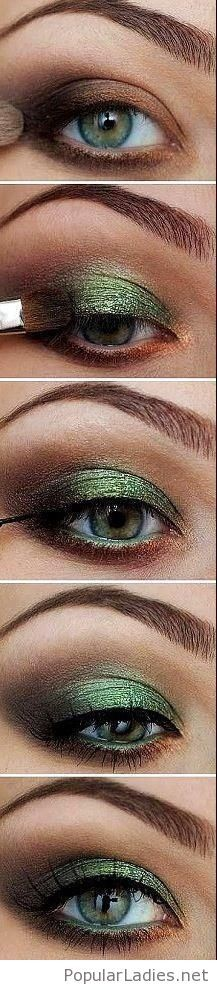 Amazing green eye makeup step by step