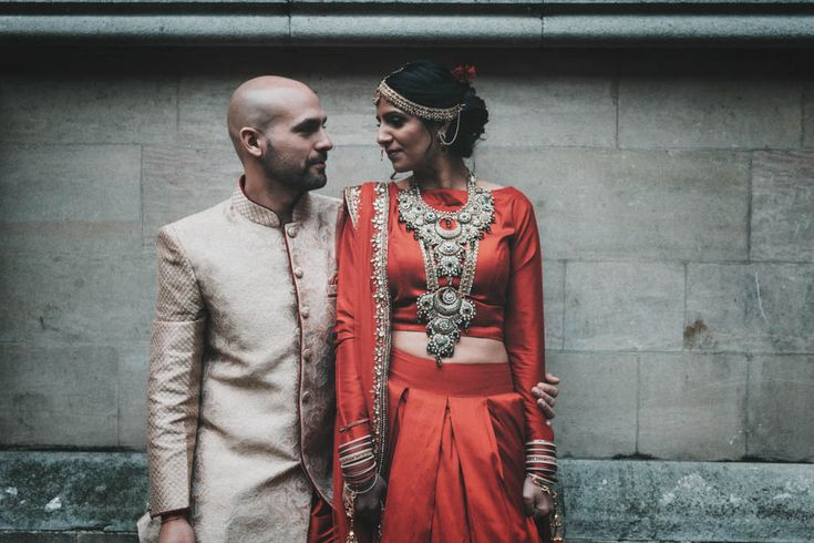 Non Religious Wedding With Indian & Spanish Cultural Traditions Bride In Simple Red Wedding Sari & ASOS Dress Images By Meghan Lorna.