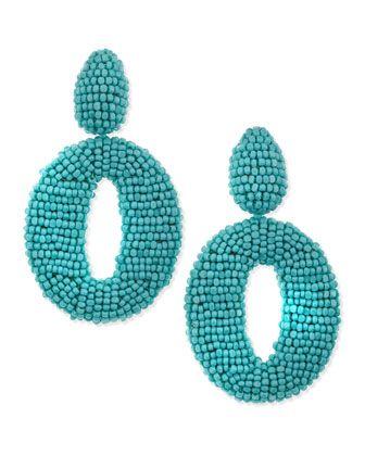 O Clip-On Earrings, Turquoise - Oscar de la Renta by: Oscar de la Renta