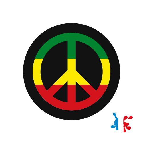 Sticker Peace and Love Drapeau Jamaïque Vinyl Taille M - J'M Créer