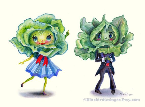 Kitschy Kitchen Leafy Greens Cute Couple Art by BluebirdieBootique, $20.00