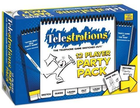 Amazon.com: USAOPOLY Telestrations Party Pack 12 Player | 600 New Phrases to Ske…