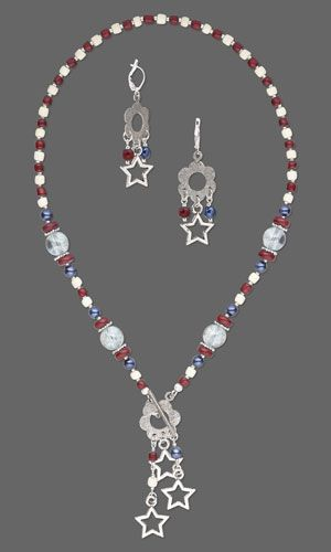 """Necklace and Earring Set with Wood Beads, Czech Glass Druk Beads and Antiqued Silver-Finished """"Pewter"""" Charms. Design by Jamie Smedley. FREE Project with Instructions. #FMG Design Idea D33B"""