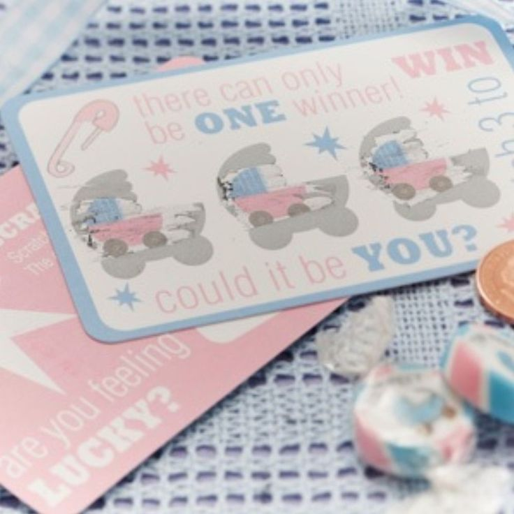 TINY FEET - Scratch Card Game  10  Baby Shower Fun, Party Supplies Blue Pink