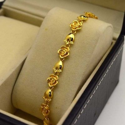 Details about 24K Yellow Gold Filled Bracelet Chain 7.6″ Flower Link GF Charm Fashion Jewelry – pulseras y collares