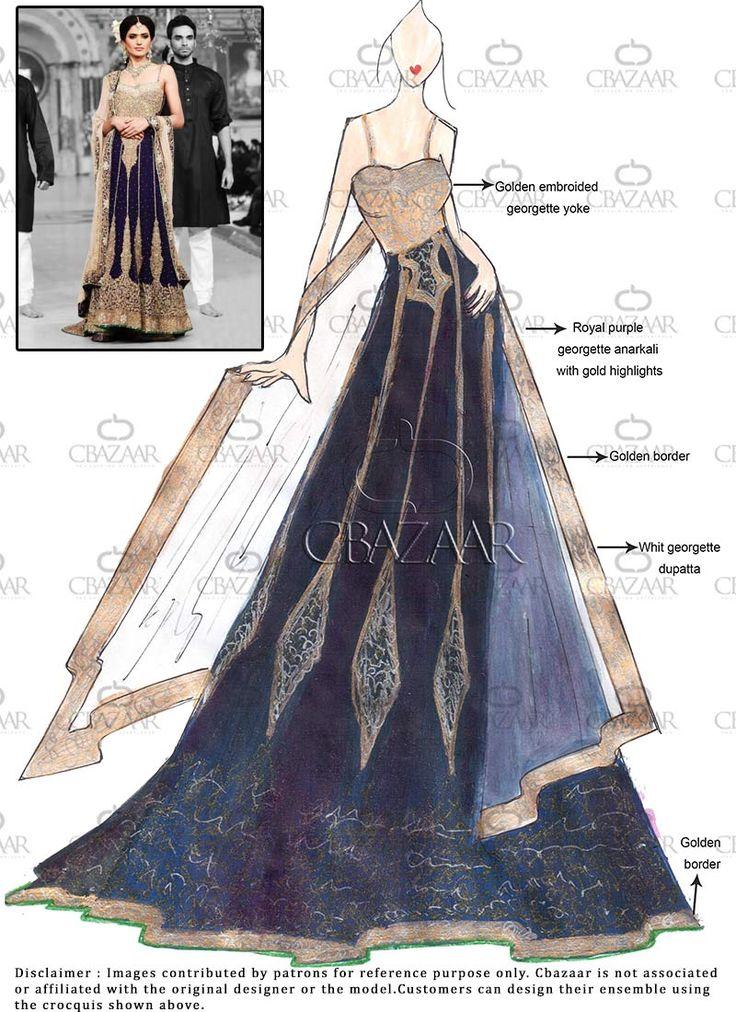 DIY Purple Georgette Floor Length Anarkali Suit