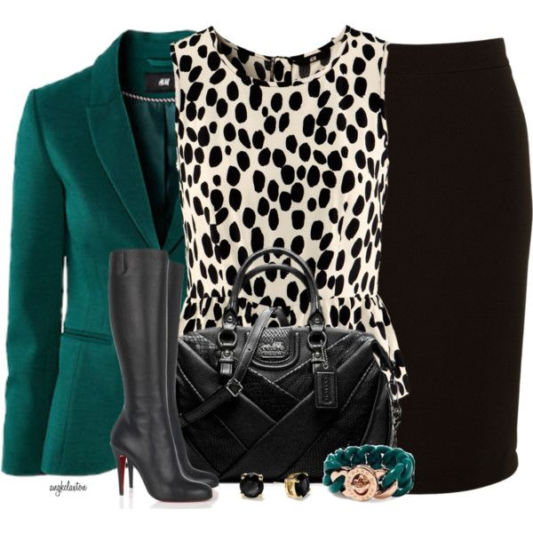 Great look to stand out for your next presentation or workday. Pair a black pencil skirt with a printed neutral top. Layer a bold colored blazer on top for a fashion forward, professional look. The boots are a nice touch for winter, but simple black heels may be more appropriate for work.