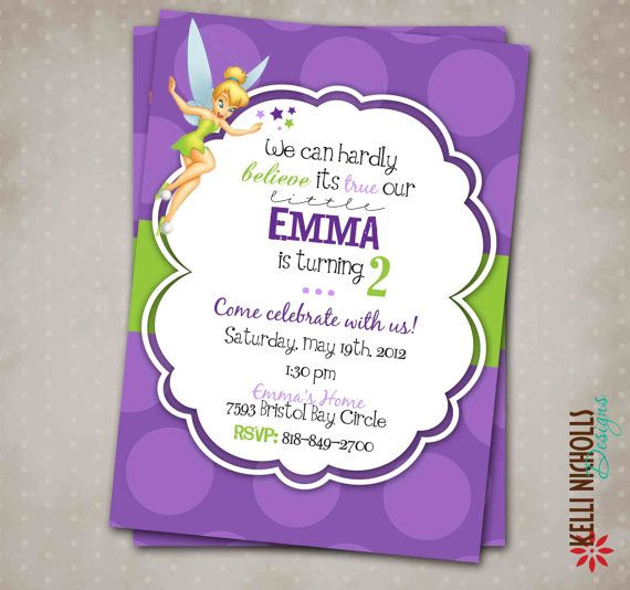 Printable Tinkerbell Girl's Birthday Party Invitation by KelliNichollsDesigns, $15.00. I just re-did this whole invitation and I am excited about how it turned out. It is perfect for a little girl's Tinkerbell themed birthday party.