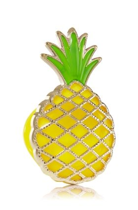 Pineapple - Scentportable Holder - Bath & Body Works - Welcome fresh fragrance to your ride! Radiate your favorite fragrances without a plug, battery or flame. The built-in clip base attaches to your visor or seat pocket for a scent-sational driving experience.