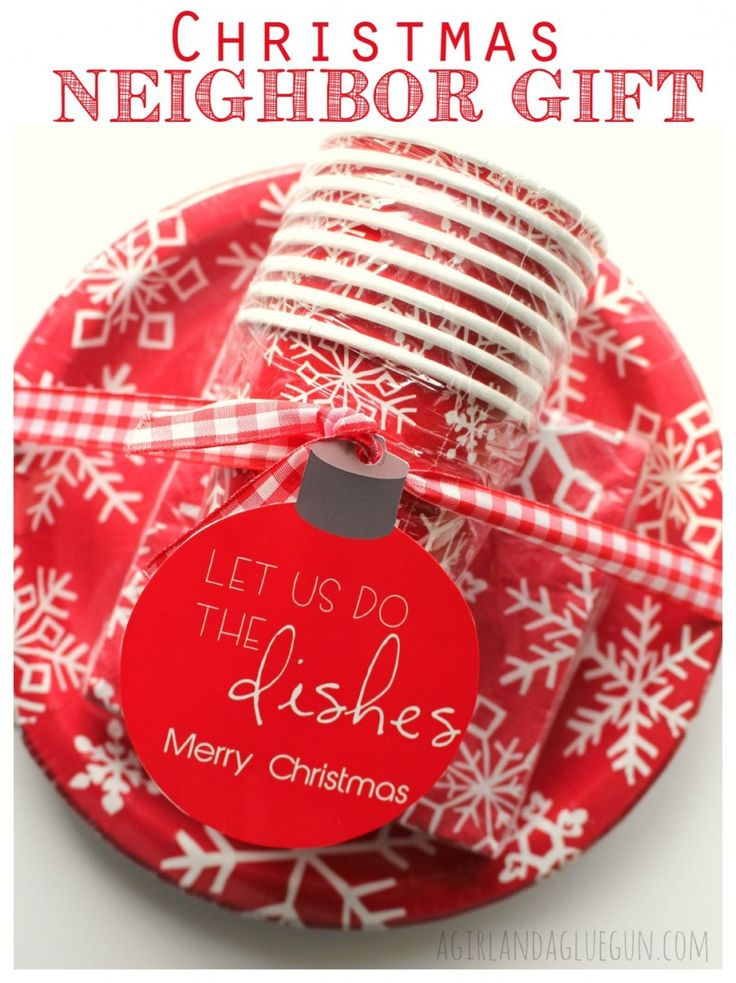 Christmas neighbor gift..let us help with the dishes! who wouldn't love this?