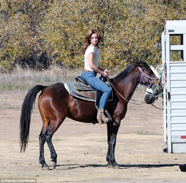 Posing pretty: Francesca Eastwood was spotted horseback riding in Los Angeles on Friday wi...