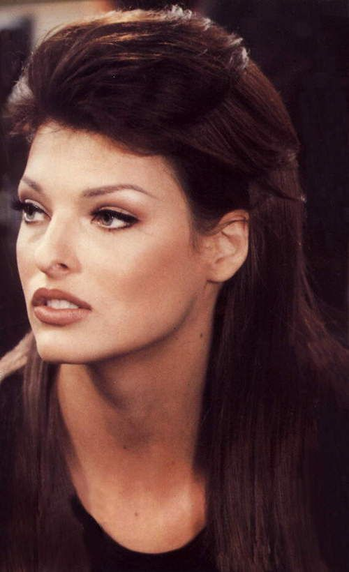 90's Makeup inspiration - heavily arched brows, earthy tones, lined lips and kohl liner! - Linda Evangelista...x