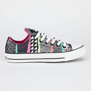 Converse Chuck Taylor All Star shoes. Canvas upper with all over mixed  pattern print. Rubber Converse All Star heel badge. Converse All Star label  woven on ...