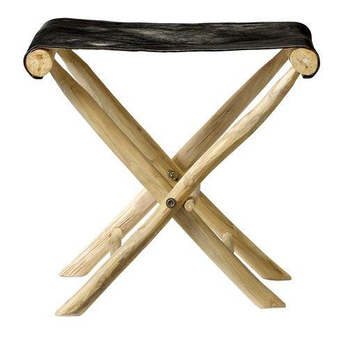 Tabouret pliant en bois et assise en cuir Bloomingville : Decoclico