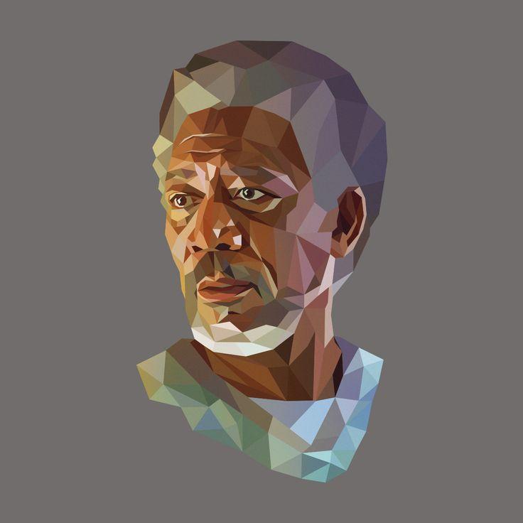 Morgan Freeman- Low Poly Portrait See you more: https://www.behance.net/gallery/21440501/Low-Poly-Portrait