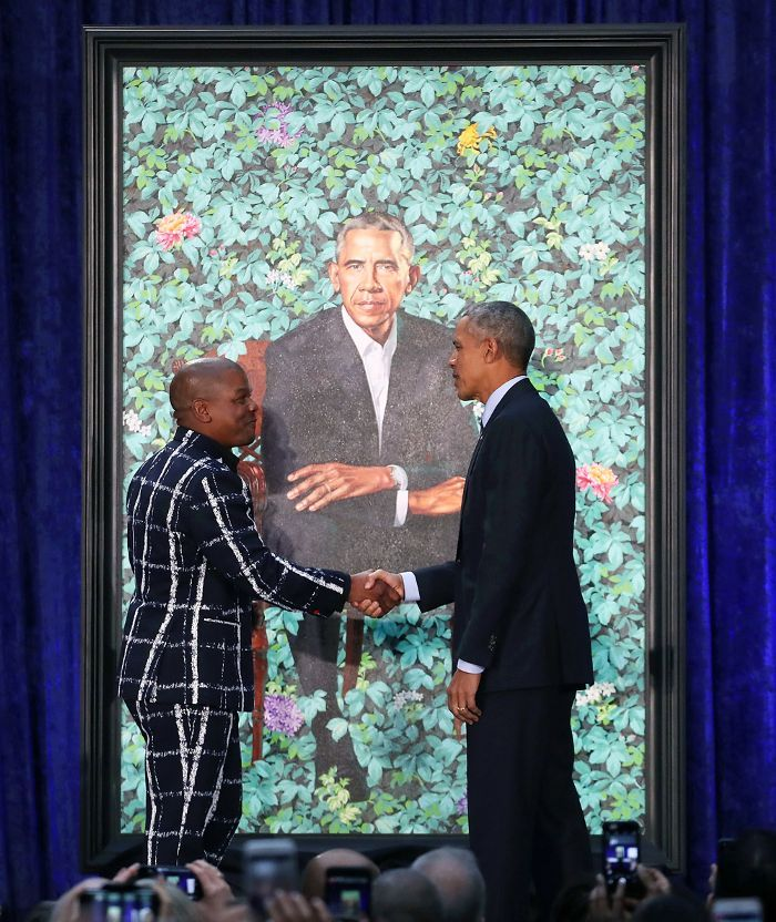 Learn about the groundbreaking artists, Michelle's dress, and more fun facts about the Obamas' official portraits.