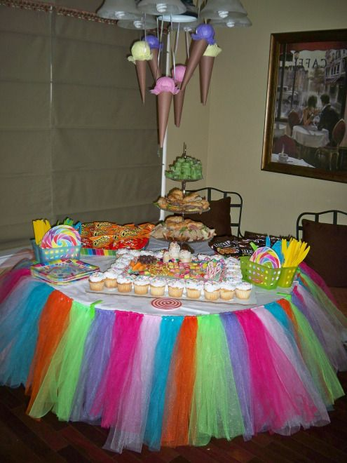 Candyland Birthday Party by Two Belles Event Planning! Tutu tablecloth for sale. To see more, visit http://twobellesevents.wordpress.com/2012/12/17/how-sweet-it-is-a-candyland-birthday-party-pic-heavy-x-10/