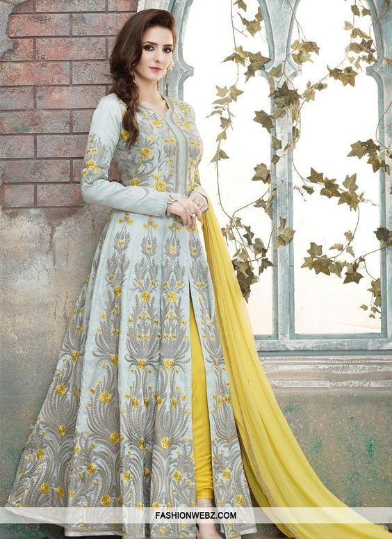 Be your very own #style & #design diva with this #grey & #yellow #artsilk #pantstyle #designer #salwarkameez