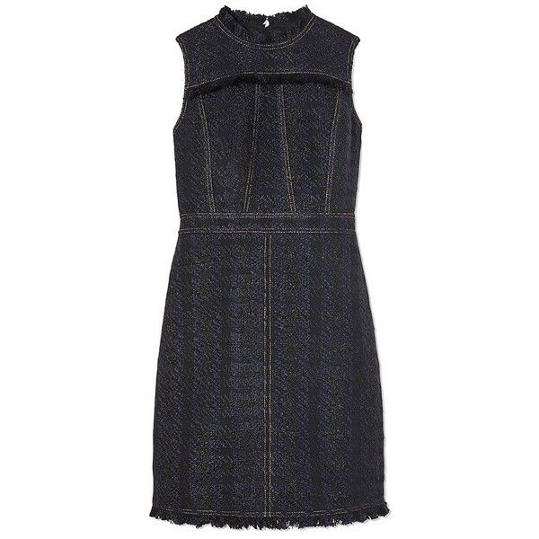 Tory Burch Aria Tweed Dress ($398) ❤ liked on Polyvore featuring dresses, tory burch dresses, shiny dress, day to night dresses, blue plaid dress and blue dresses