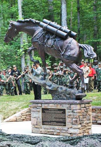 The statue of Staff Sergeant Reckless stands proud in Semper Fidelis Memorial Park following its unveiling.
