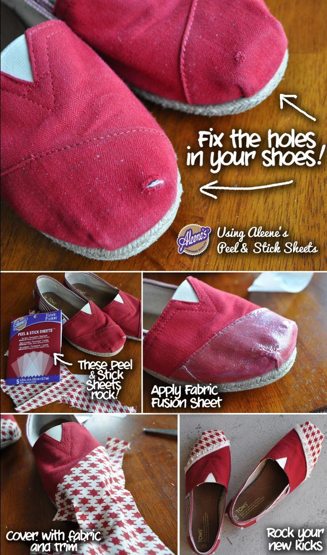 Fix your Toms with Aleene's Peel & Stick Sheets