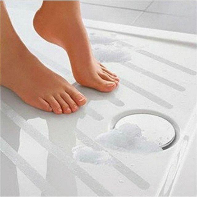 6pc Portable Anti Slip Bath Grip Stickers Non Slip Shower Strips Pad Flooring Safety Tape Mat Applique Stickers Bath Tub Shower Review Shower Anti Slip Shower Tub Kids Bath