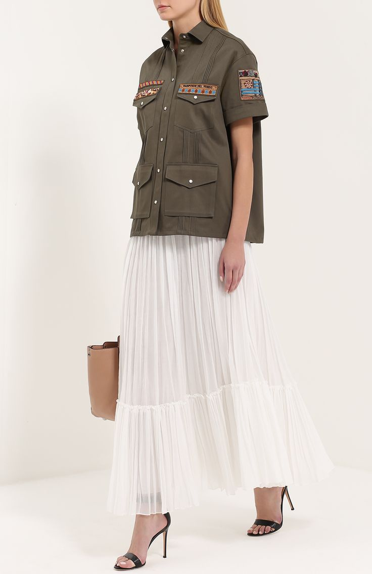 Женская белая плиссированная юбка-макси с оборкой Valentino, сезон SS 2017, арт. MB3RA285/311 купить в ЦУМ | Фото №2