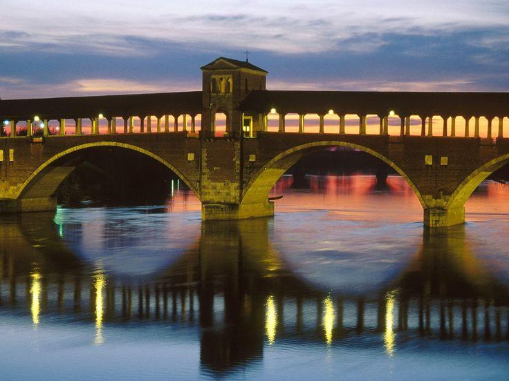 Covered Bridge Over the Ticino River, Pavia, Italy