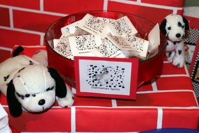 Fireman Birthday Party Treats - Dalmation Spots (chocolate raisinettes) for candy bar