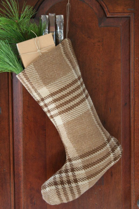 man 39 s christmas stocking brown wool plaid masculine