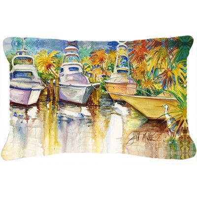 Caroline's Treasures Blue Heron and Deep Sea Fishing Boats Indoor/Outdoor Throw Pillow