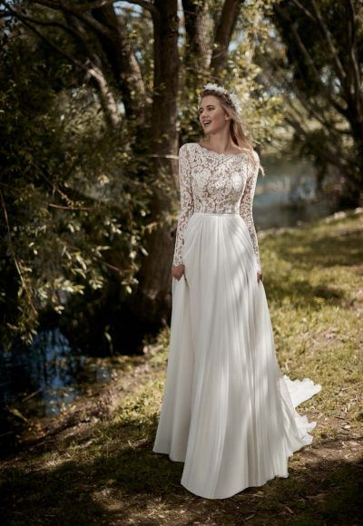 Long Sleeve A-line Wedding Dress by Maison Signore – Image 1
