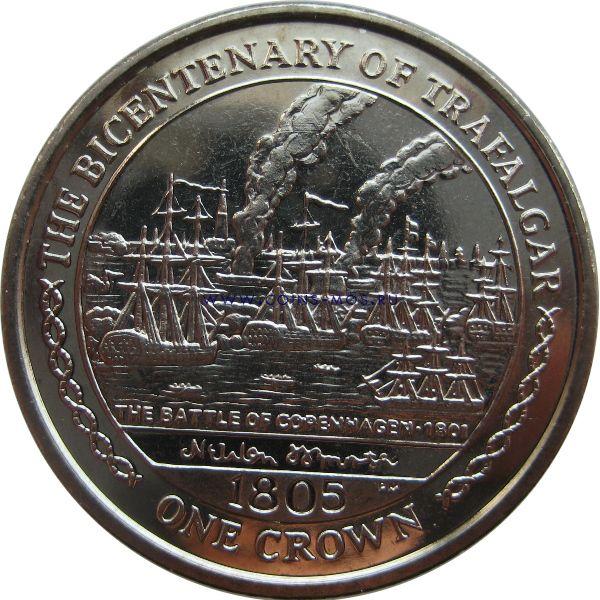 Остров Мэн «Трафальгарское сражение»  1 крона 2005 г.