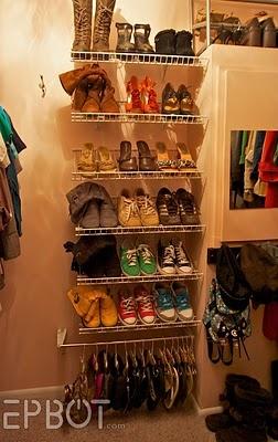 Shoe organization and DIY flip-flop/flats hanging storage.