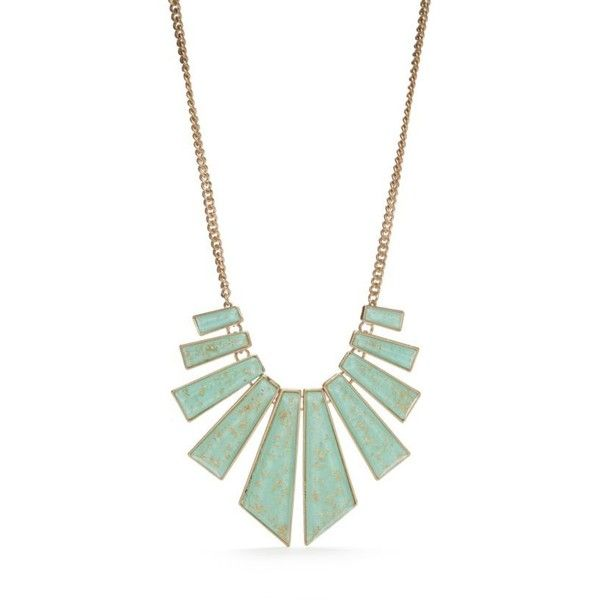 New Directions Mint Green Gold-Tone Gold Dust Statement Necklace ($21) ❤ liked on Polyvore featuring jewelry, necklaces, mint green, mint necklaces, clear statement necklace, gold statement necklace, triangle necklaces and clear crystal necklace