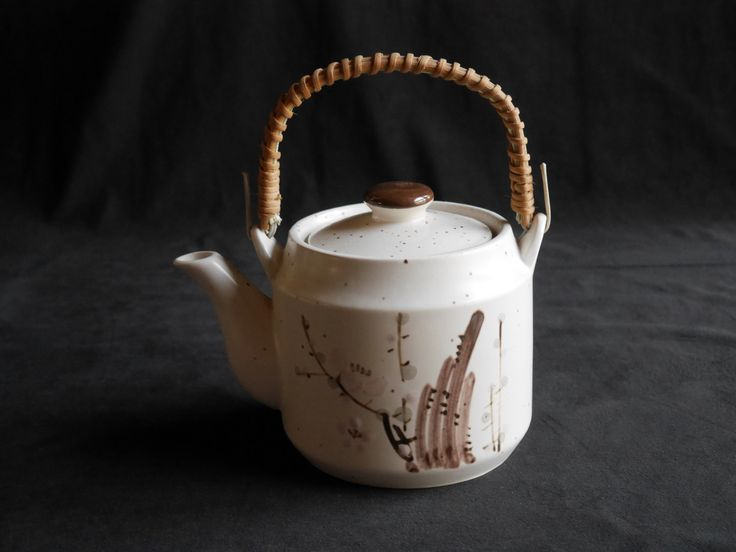 Vintage Hand Painted Ceramic Teapot with Rattan Handle, White Speckled with Brown Foilage and Pale Pink Blossoms, Japanese by CactusWrenVintage on Etsy